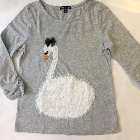 be79cc71f7fef3 GAP Shirts & Tops | Kids Girls Top Swan Sequin | Poshmark